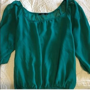 Papaya Teal Cold Shoulder Semi Sheer Top L